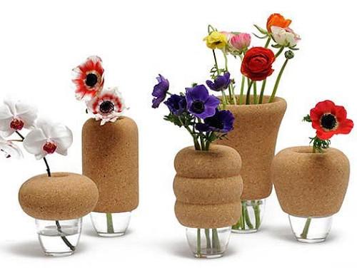Cork and Glass Vase by Y'a Pas Le Feu Au Lac