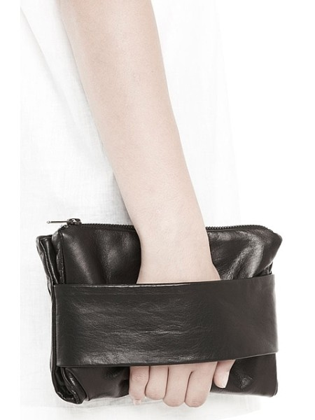 RAD HOURANI BLACK LEATHER CLUTCH
