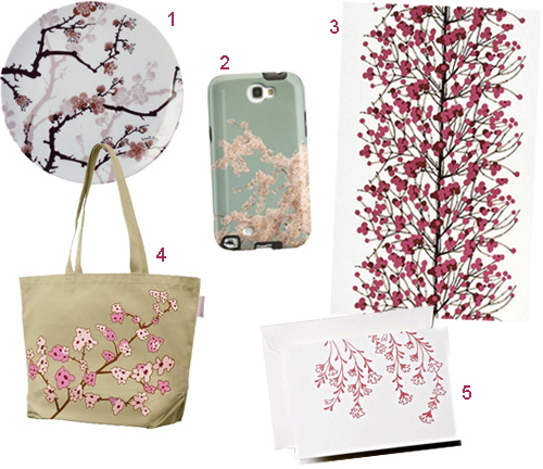 Cherry Blossom Flower Wallpaper Notecard Tote