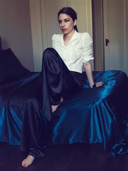 Sofia Coppoloa In Blue Velvet Pants White Blouse