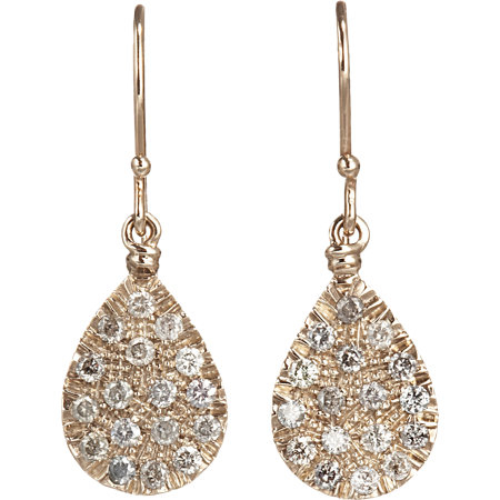 Gold and DIamond Teardrop Earrings