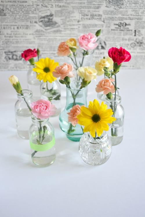 Sunday Bouquet Plain Bottle With Washi Tape And Flowers