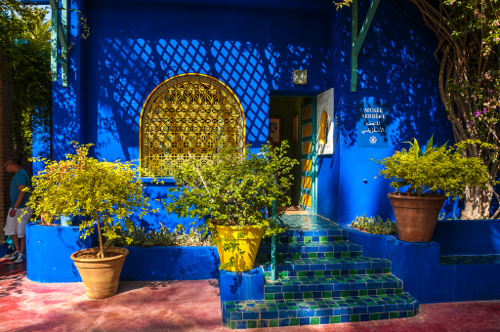 design diary a boston patio inspired by majorelle gardens stylecarrot. Black Bedroom Furniture Sets. Home Design Ideas