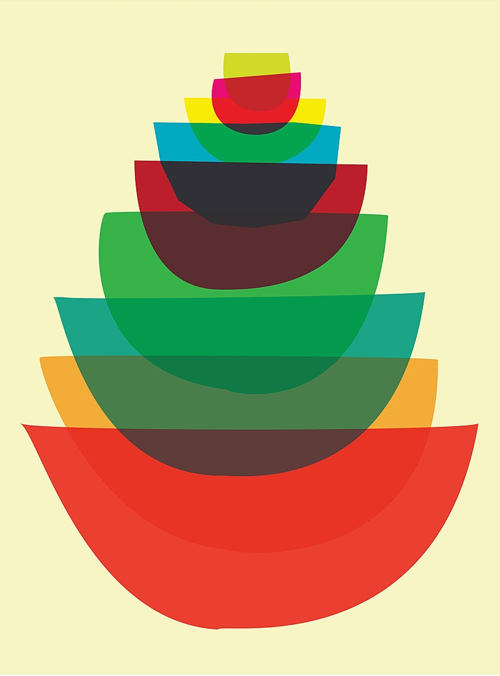 Kitchen Art Bowl Stack Graphic Print