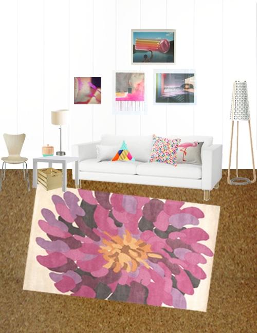 Modern Floral Living Room Rug
