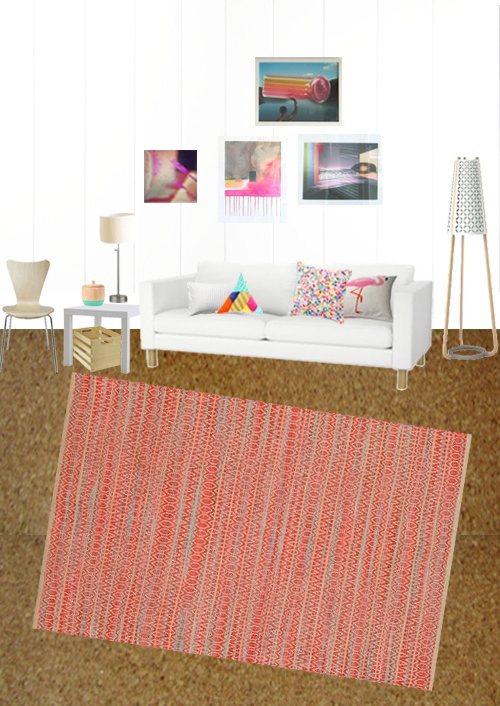 Jute Natural Fiber Rug In Red
