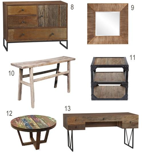 Reclaimed Wood Dresser Desk Console Coffee Table Mirror