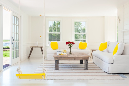 Yellow & White Living Room WIth Swing