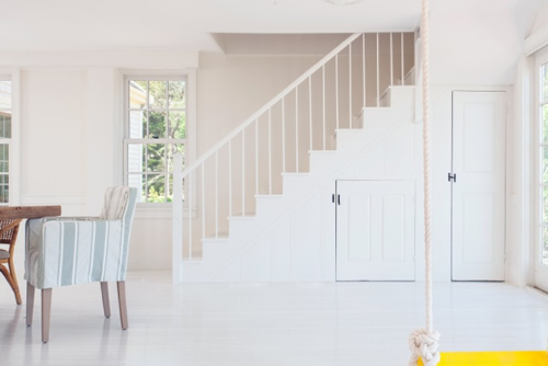 All White Cape Cod Cottage Stairway