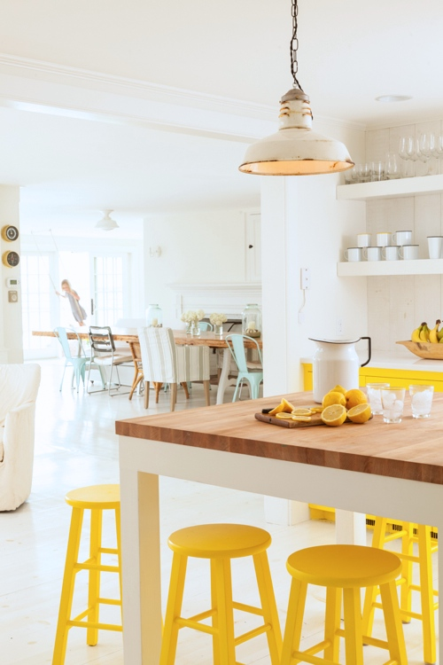 Country Style All White Kitchen WIth Pops Of Yellow
