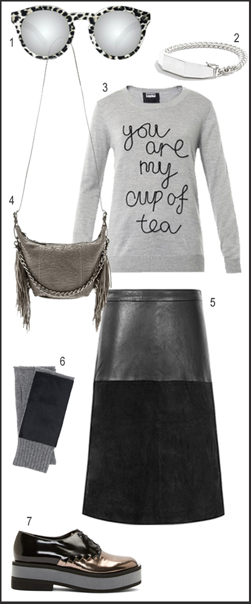 Edgy & Slouchy Fall Weekend Outfit In Black Leather And Gray