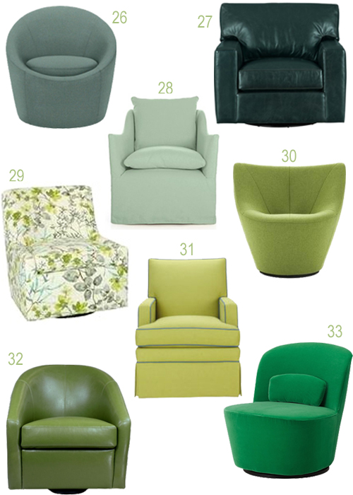 Modern Green Upholstered Swivel Chairs
