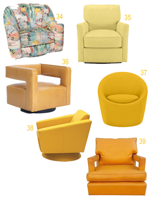 Modern Yellow Orange Upholstered Swivel Chairs