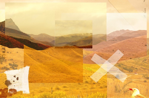 Golden Deconstructed Landscape By Lesley Smith