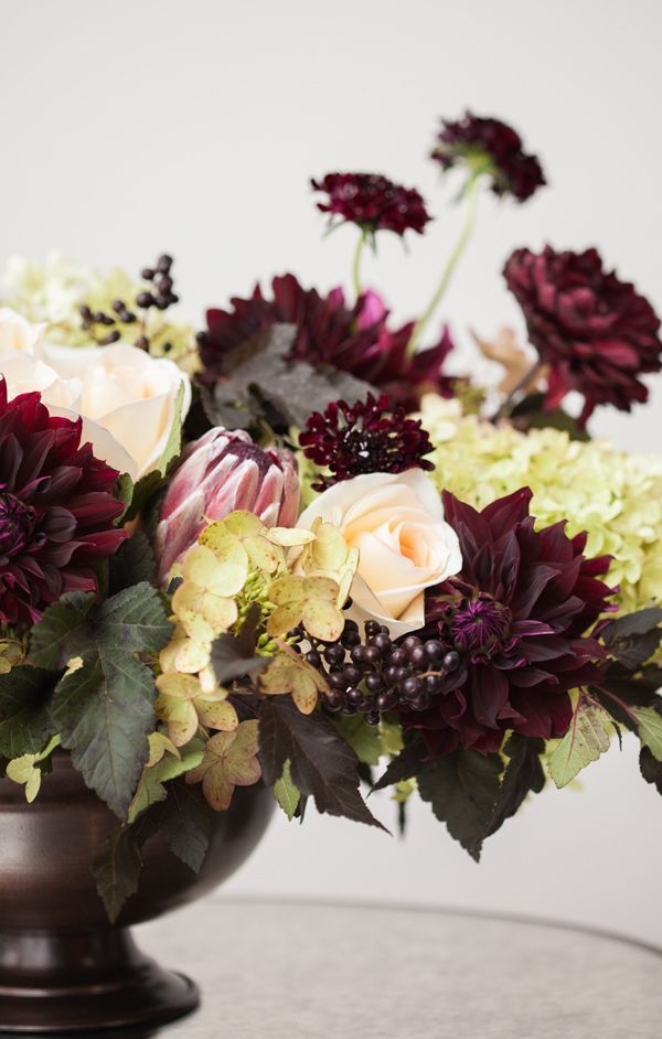 Winter Flower Arrangement In Burgundy And Ivory