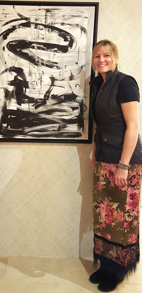 Artist Jen Kelly With Her Abstract B&W Painting at Webster & Co.