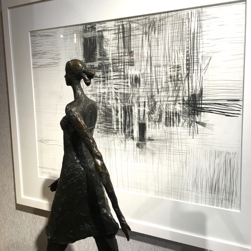 Betty Carroll Fuller Black & White Abstract Drawing in Graphite At Webster & Co.
