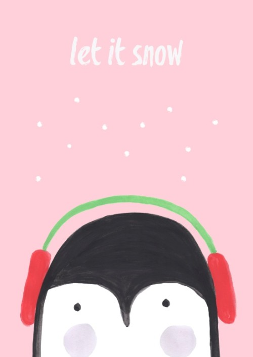Let It Snow Penguin Illustration Affordable Art