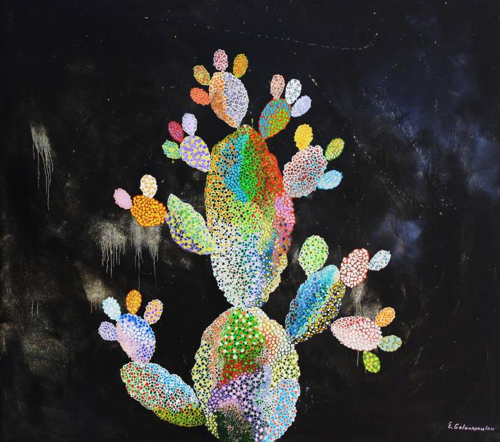 Colorful Painting of Cactus On Black Background
