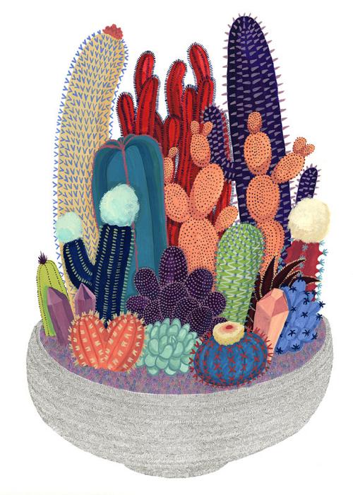 Cactus Terrarium Illustration