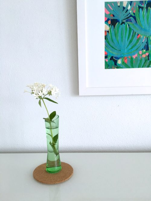 White Flowers In Green Grass Vase Under Lulu DK Painting