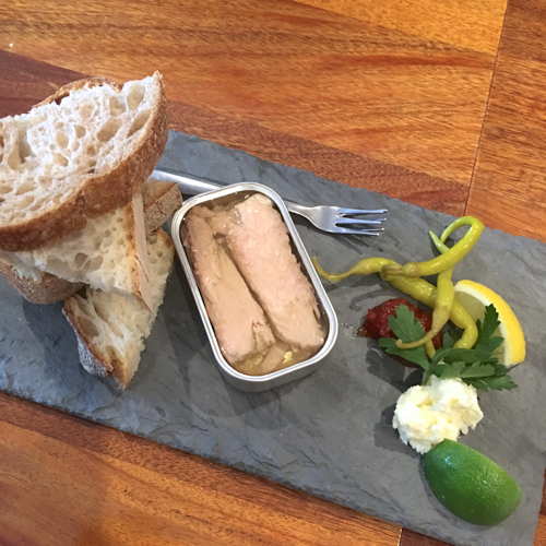 Tinned Fish Served On Slate Slab At Saltie Girl