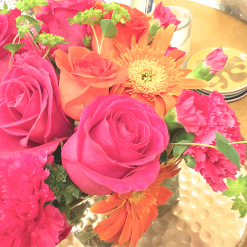 Roses & Gerbera Daisies In Pink And Orange On Hammered Copper Tray