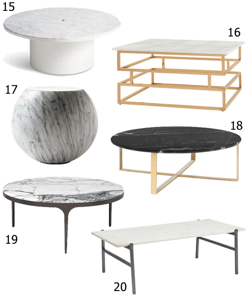 Modern Coffee Tables With Marble Tops