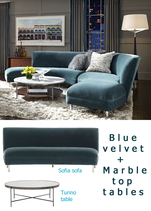 Fall Decor Trends Blue Velvet + Marble Top Tables