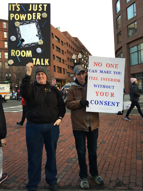 Boston Women's March Sign About Powder Rooms & Consent