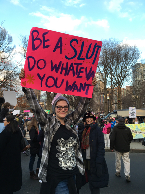 Boston Women's March Sign For Sluts