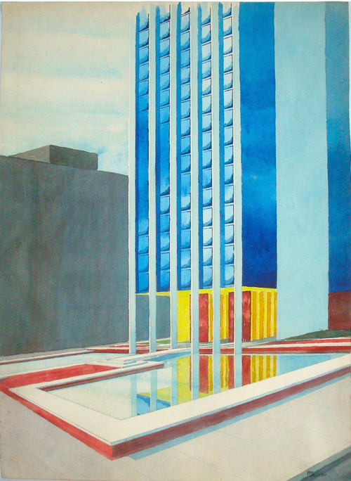 Mid-Century Modern Architectural Watercolor Painting