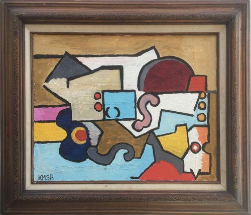 Vintage Abstract Cubist Still LIfe Painting