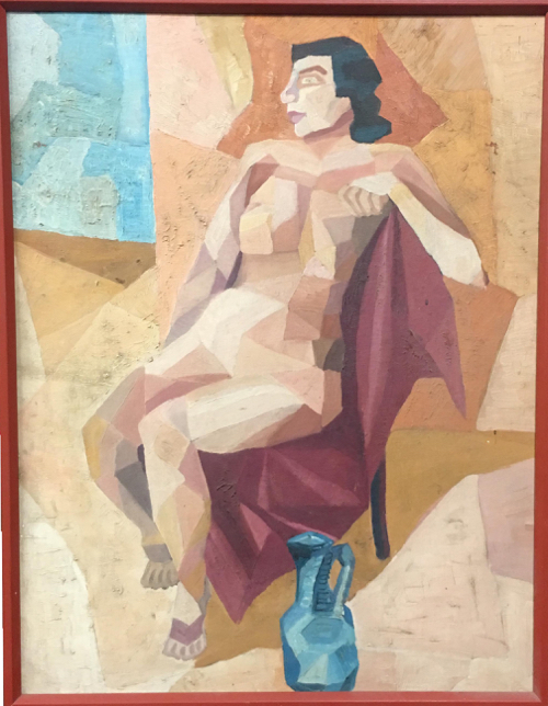Mid-Century Cubist Nude Oil Mid-Century Cubist Nude Oil Painting Of Seated Woman