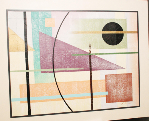Vintage Geometric Abstract Oil On Canvas