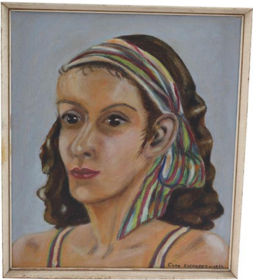 VIntage Portrait Of Woman WIth Ribbon In Oil
