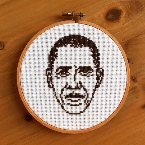 Obama Needlepoint Art By Emily Gallardo
