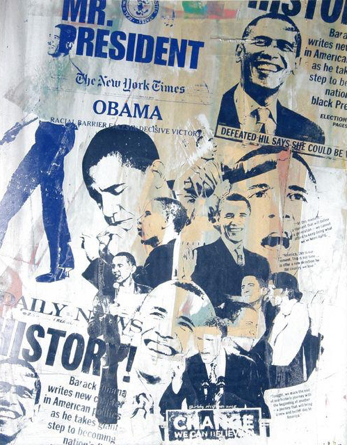 Silkscreen Collage Of President Barack Obama With Newsprint