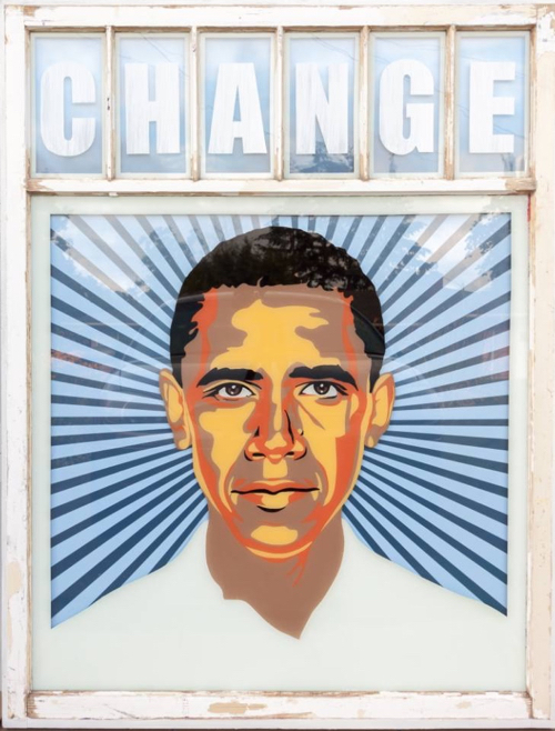 Obama Change Painting In The Style Of Shepard Fairy