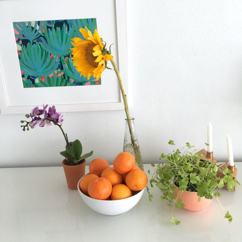 Still Life With Sunflower Mandarin Parsley