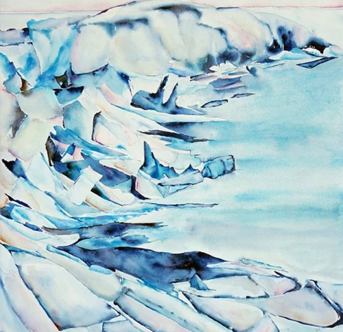 Arctic Shoreline Painting By Boston Artist Lisa Goren