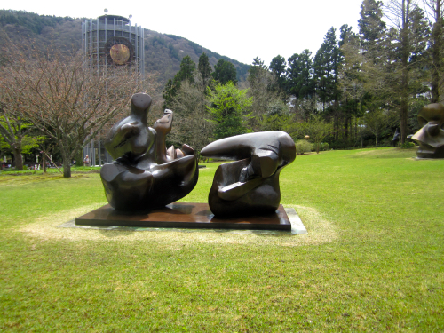 Abstract Sculpture Of Two Figures By Henry Moore