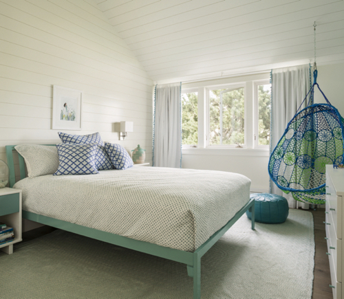 Modern Girls Bedroom In Turquoise With Swing