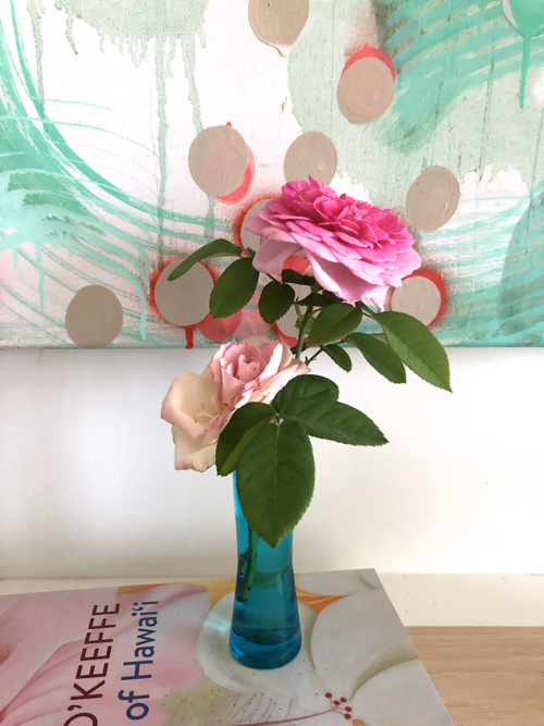Sarah Lutz Abstract Painting And Pink Roses