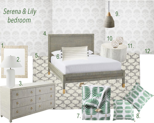 Serena & Lily Neutral Bedroom With Green Fern Print Bedding